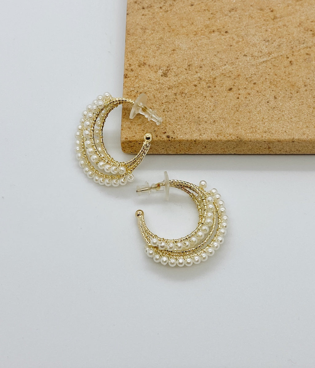Triple Pearl Gold Hoop