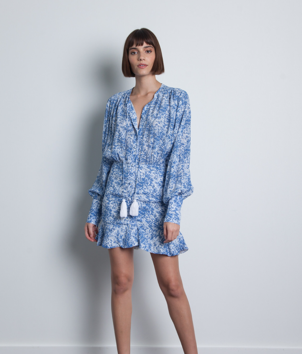 SAMI PRINT MINI DRESS - SKY FLOWER