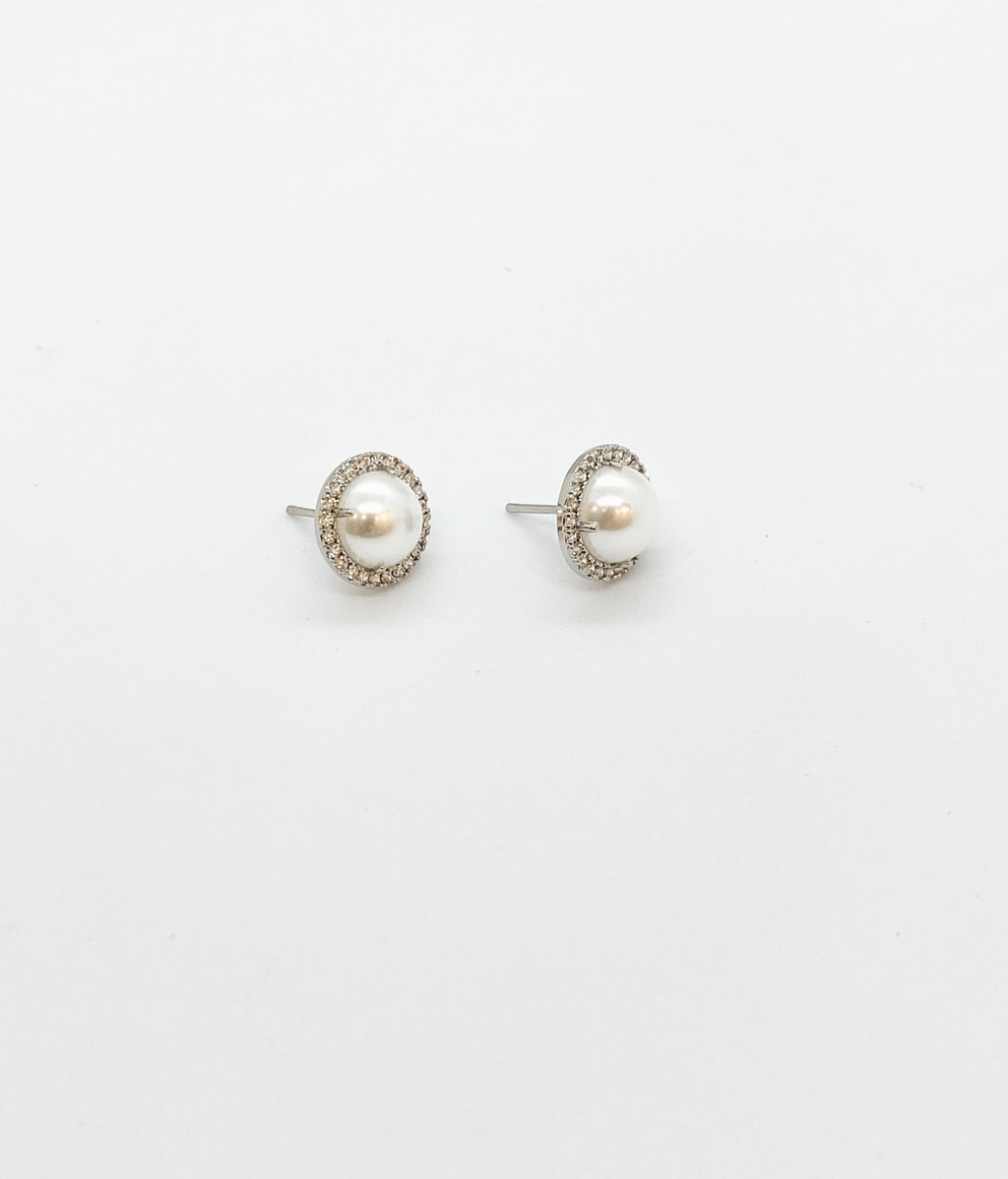 White Gold Pearl Stud