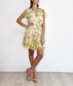 Aja Dress in Yellow Print