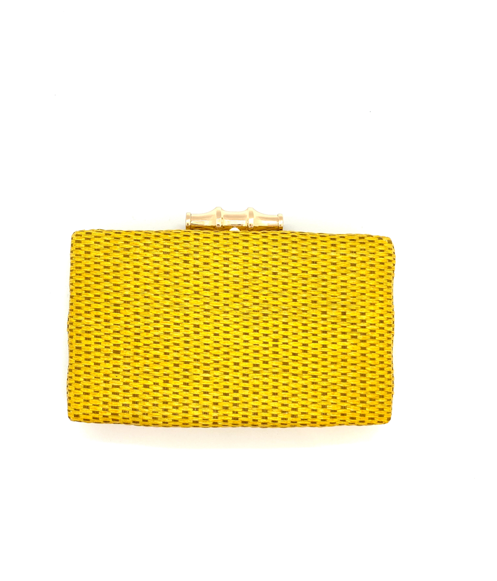 Yellow Whicker Clutch - Square