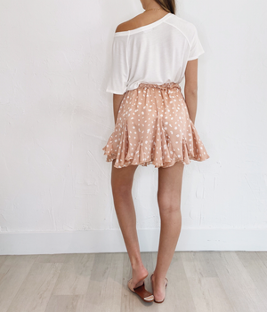 Millie Mini Skirt in Tan Dot