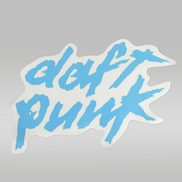 BLUE DAFT PUNK LOGO STICKER - LARGE