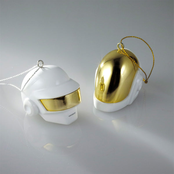 Daft Punk Limited Edition White & Gold Robot Helmet Ornament Set