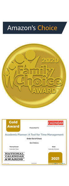 Academic Planner: A Tool For Time Management awards: Amazon's Choice, Family Choice, and the Gold Calendar Award