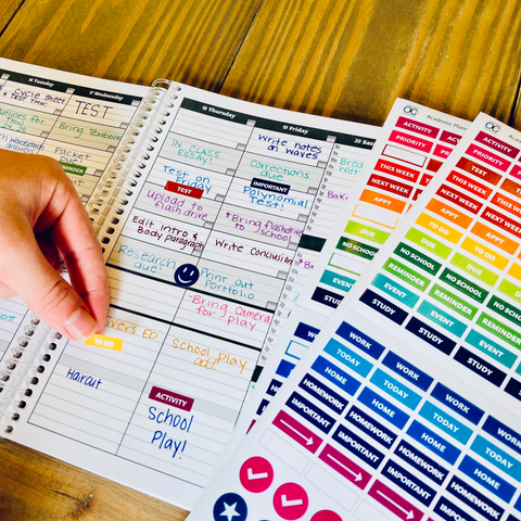 student stickers in planner