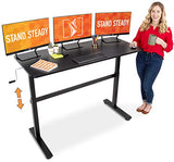 "Stand Steady Tranzendesk 55 Inch Standing Desk | New & Improved! | Height Adjustable Sit to Stand Workstation with Removable Crank Handle | Ergonomic Desk Great for Home & Office! (55""/ Black)"