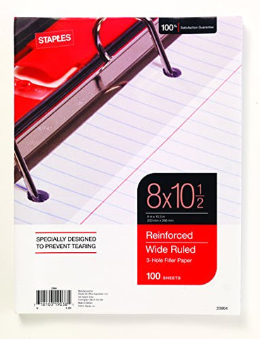 "Staples Reinforced Filler Paper, Wide Ruled, 8"" x 10 1/2"""