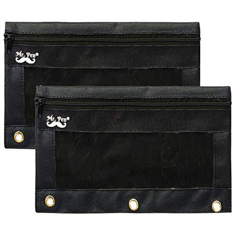 Mr. Pen Fabric Pencil Pouch with 3 Binder Holes, Black, Set of 2