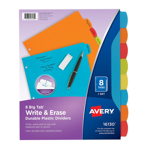 Avery Big Tab Write & Erase Durable Plastic Dividers,
