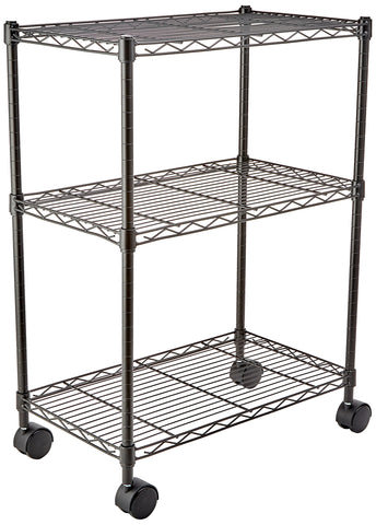"AmazonBasics 3-Shelf Shelving Storage Unit on 3"" Wheel Casters, Metal Organizer Wire Rack, Black (23.2L x 13.4W x 32.75H)"