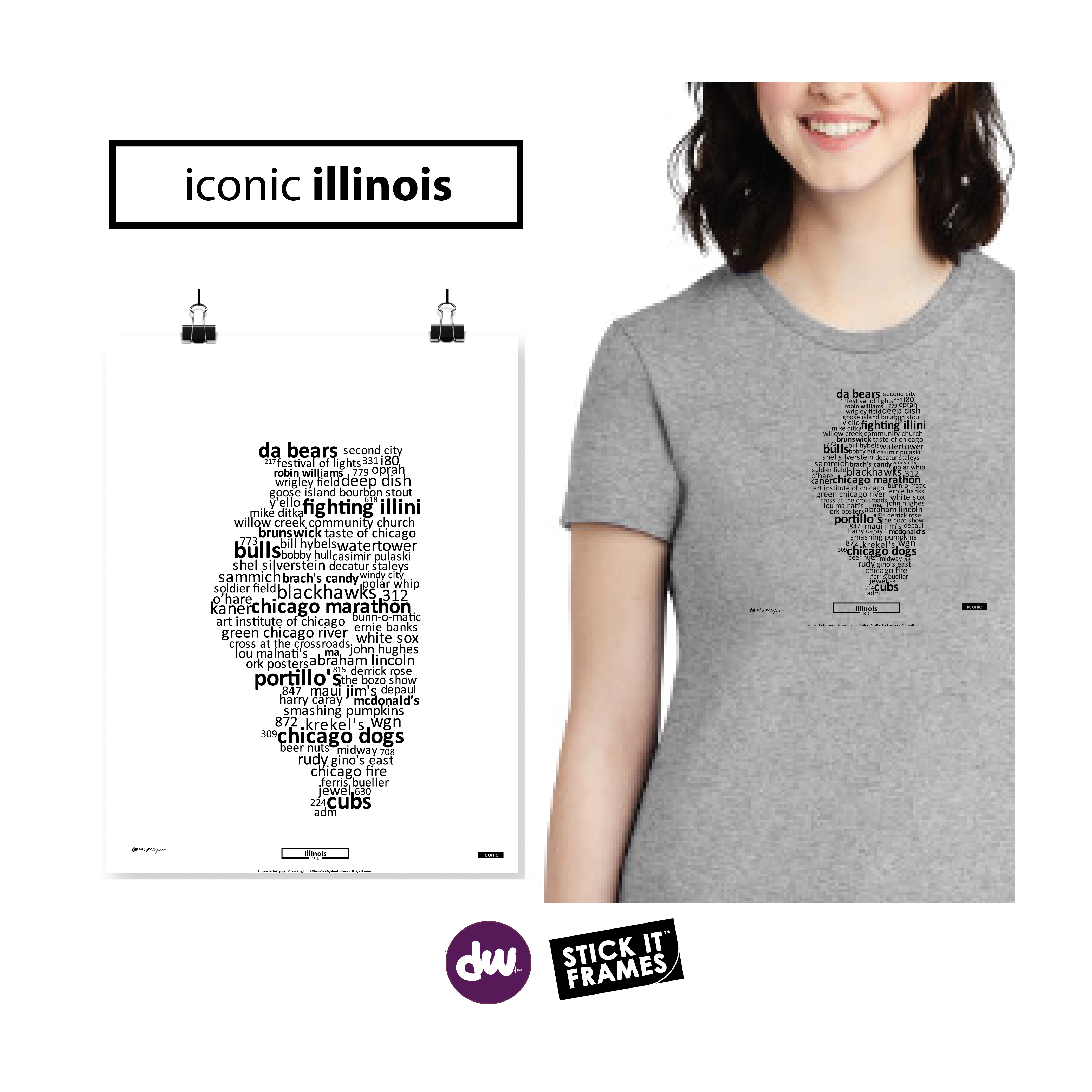 Iconic Illinois - All Products (Shirt, Art, Frames (R))