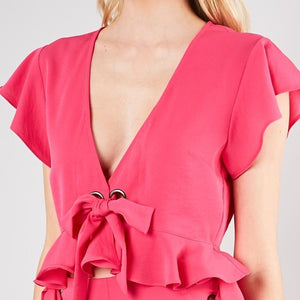 hot pink flutter top