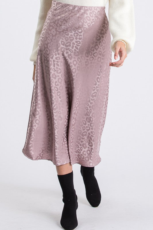 Dusty Pink Leopard Satin Midi Skirt