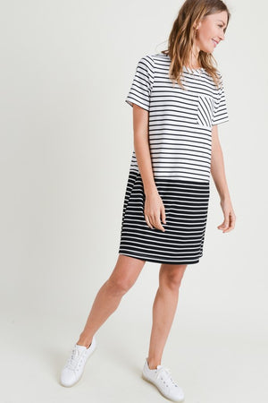 mixed stripe dress