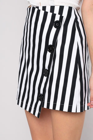 striped button skirt