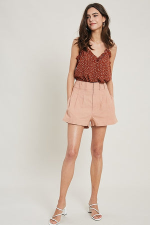 Wood Rose Pleated Shorts