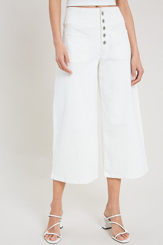 white wide-leg denim