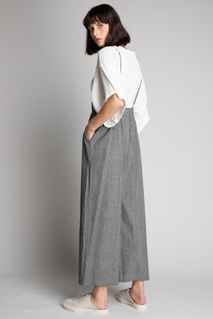 Gray Sleeveless Waist-Tie Jumpsuit