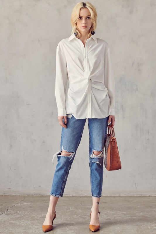 White Twisted Front Button Down