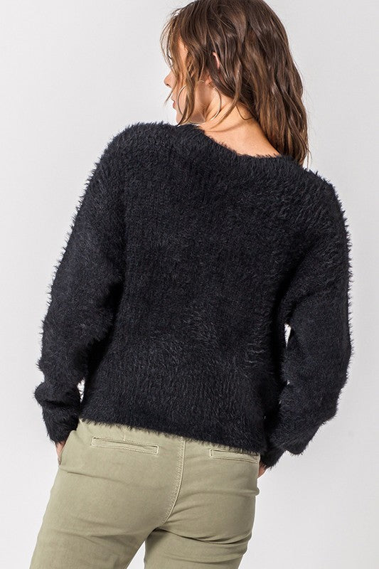 Black Fuzzy Cropped Cardigan