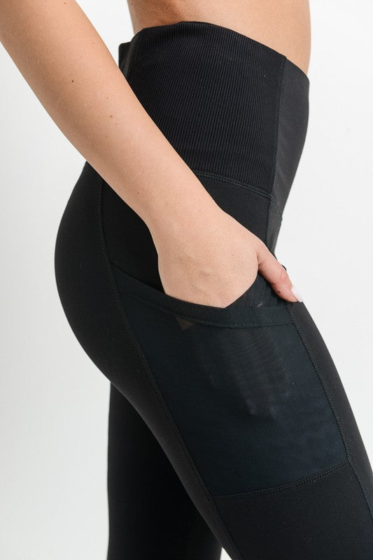 black high-waisted overlay side-pocket leggings - Shop trendy womenswear styles on www.downerss.com