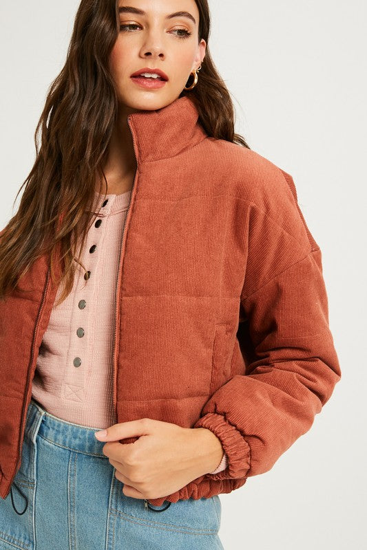 Brick Corduroy Padding Jacket - Shop trendy womenswear styles on www.downerss.com