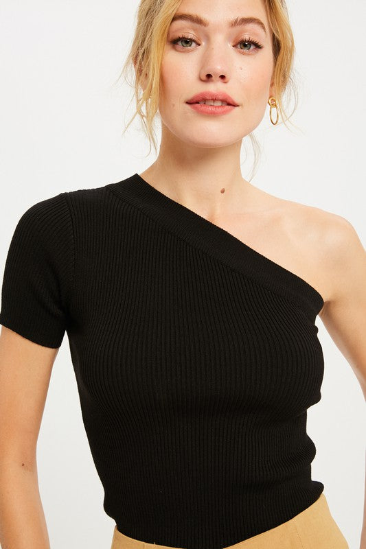 One Shoulder Ribbed Knit Top