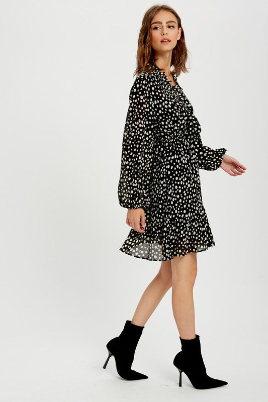 Polka Dot Baby Doll Ruffle Dress