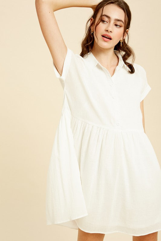 White Collared Babydoll Dress