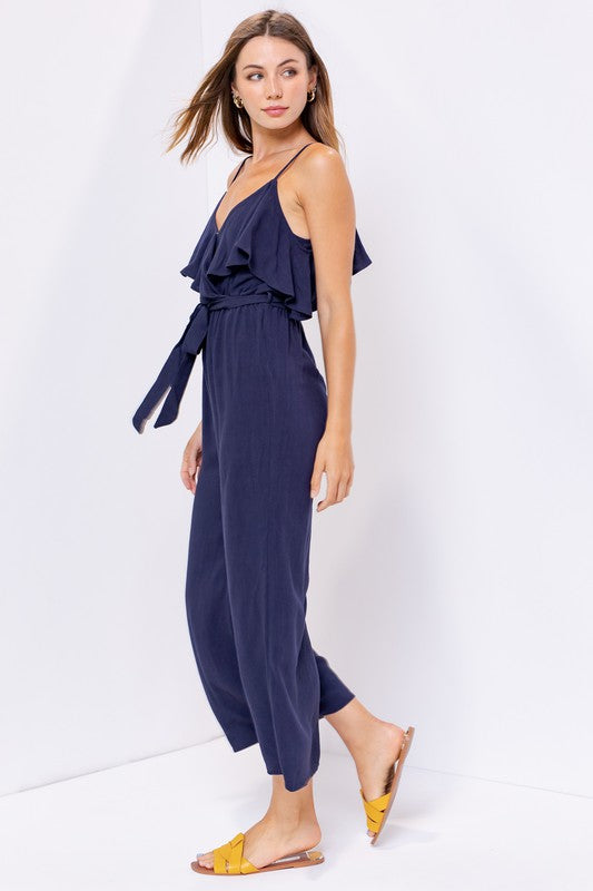 Navy Cold Shoulder Ruffle Midi Jumpsuit