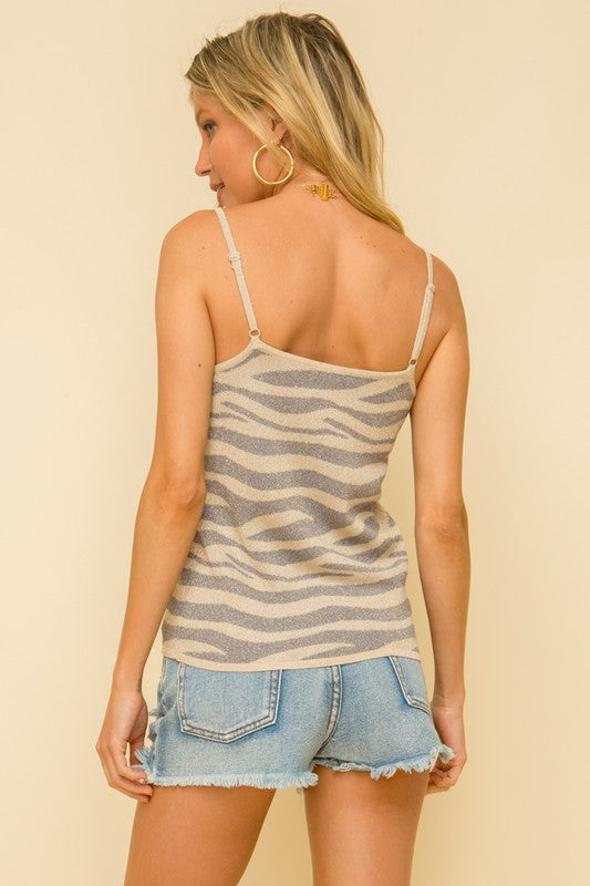Multi Color Zebra Knit Cinched Cami