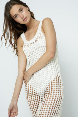 Crochet Knit Beach Midi Dress