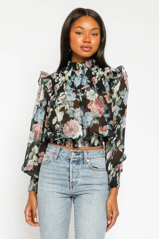 Cropped Floral Smock Top