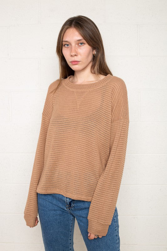 Boxy Sand Waffle Long Sleeve Pullover