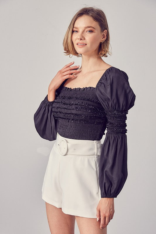 Square Neck Smocked Ruffled Top