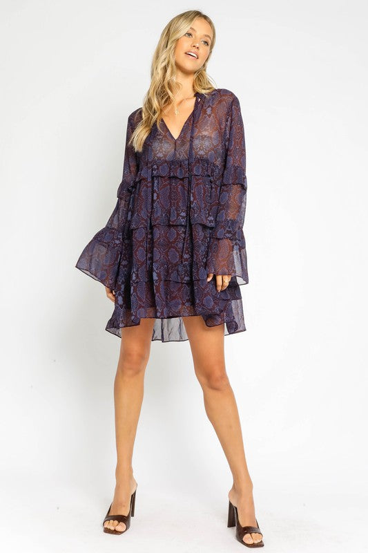 Plum Snake Ruffle Dress