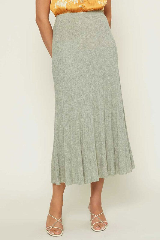 Sage Midi Fuzzy Sweater Skirt