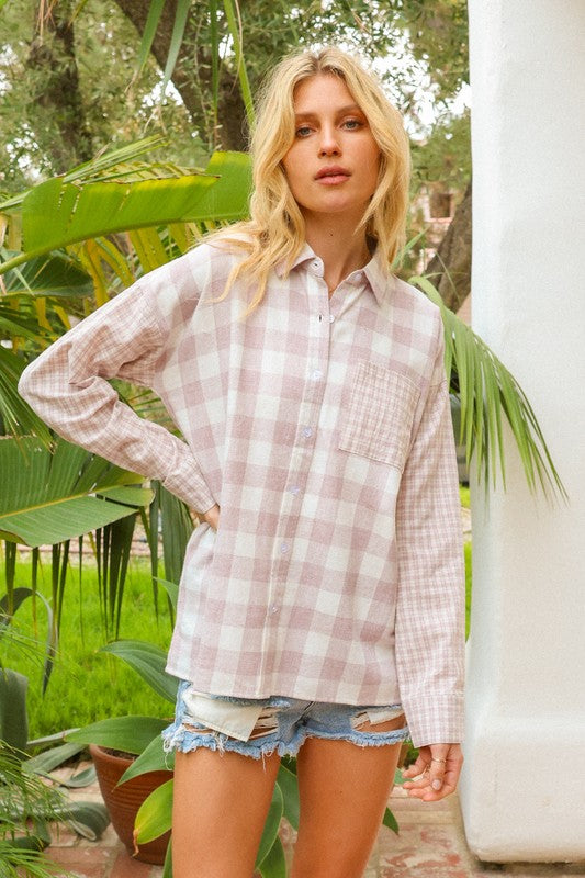 Mixed Cotton Plaid Button Up // Mauve