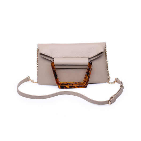 Tan Shoulder Bag w/ Tortoise Shell Handle - Vegan Leather