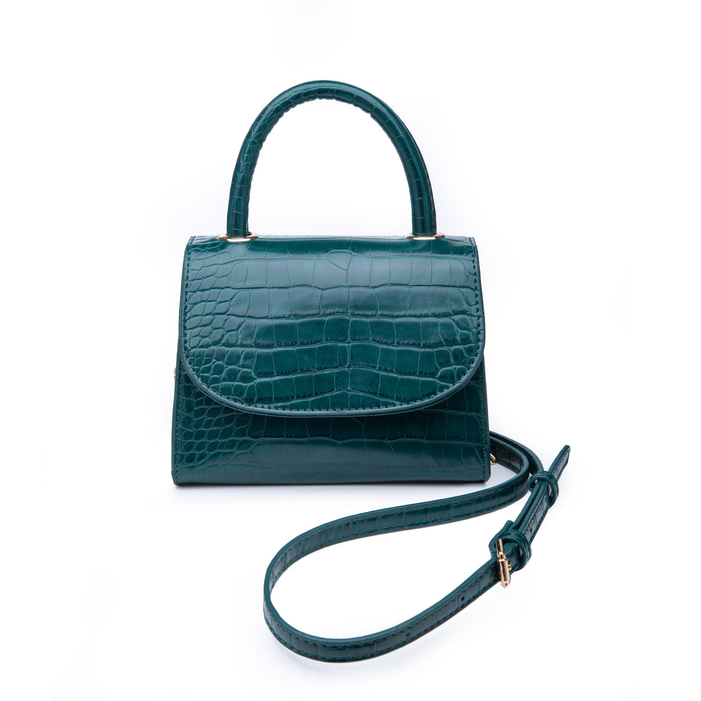 Mini Forest Green Top Handle Bag - Vegan Crocodile Leather