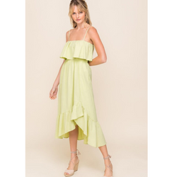Muted Lime Asymmetrical Ruffle Dress