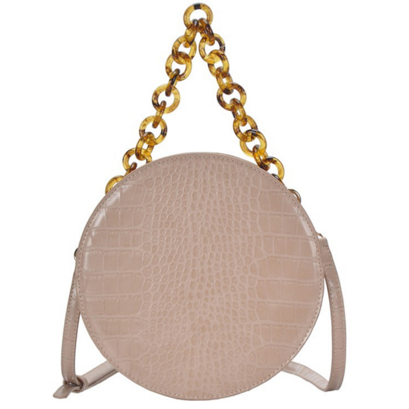 Beige Vegan Crocodile Circle Shoulder Bag - Shop trendy womenswear styles on www.downerss.com
