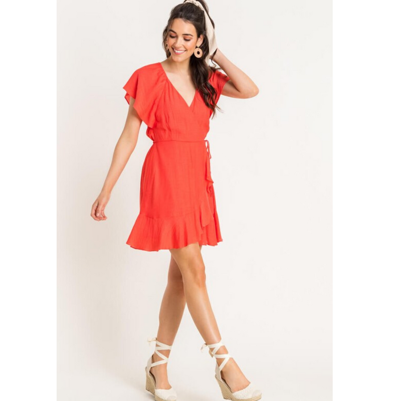 Bright Coral Wrap Dress