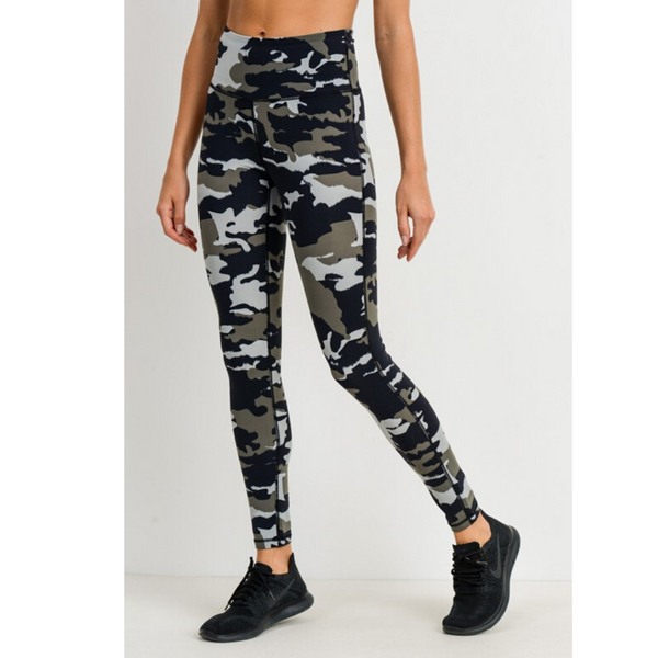 camo print high-waisted leggings