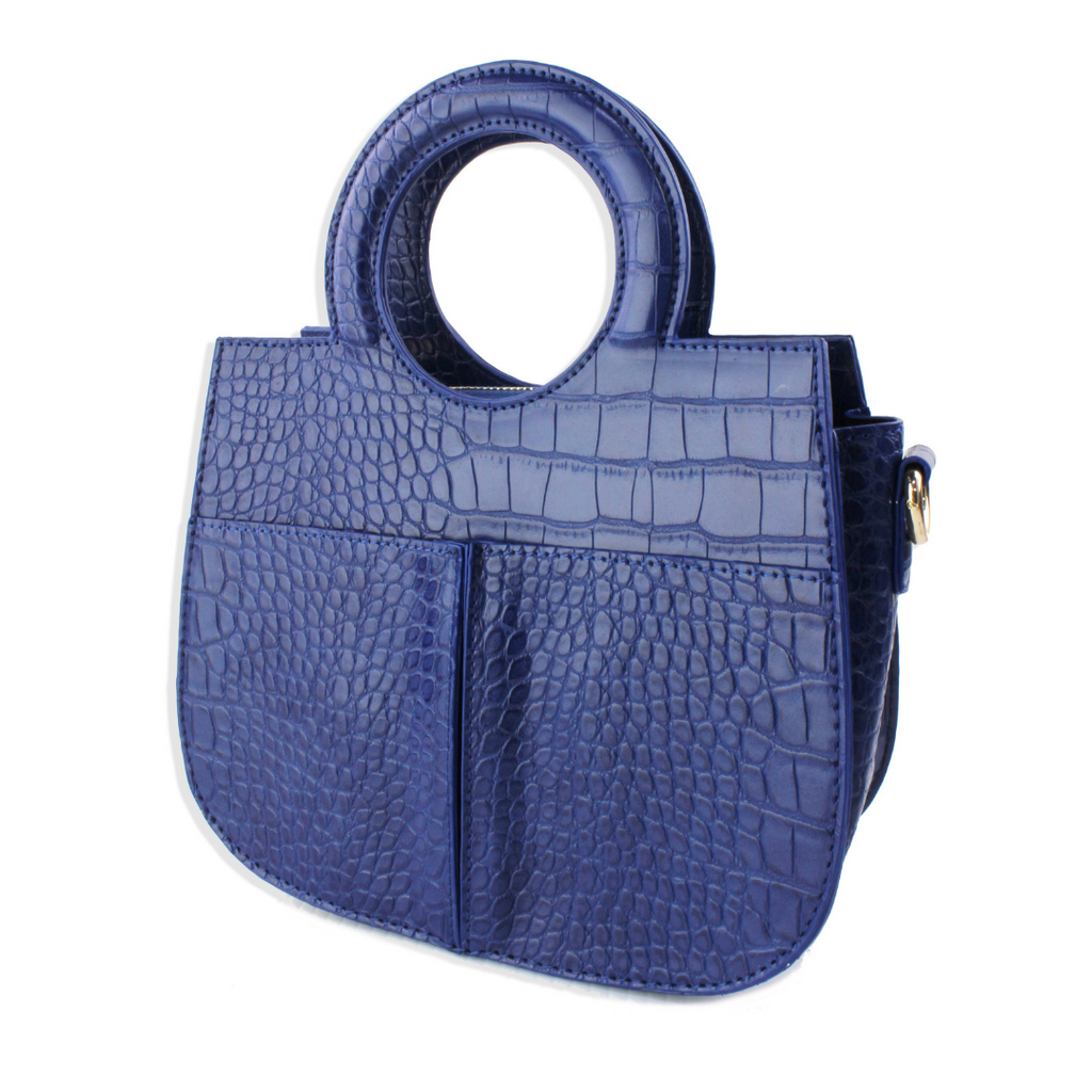 Blue Croc Handle Bag - Shop trendy womenswear styles on www.downerss.com