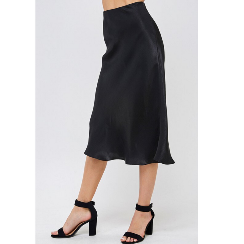 Simple Black Satin Midi Skirt