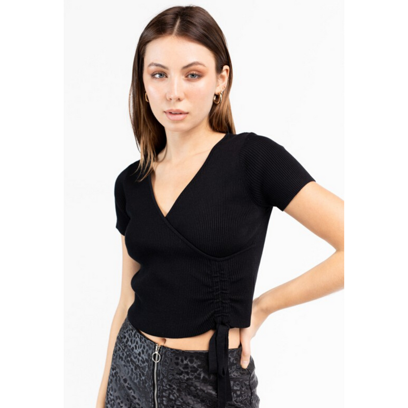Black Knit Rib Crop Top With Ruched Detail