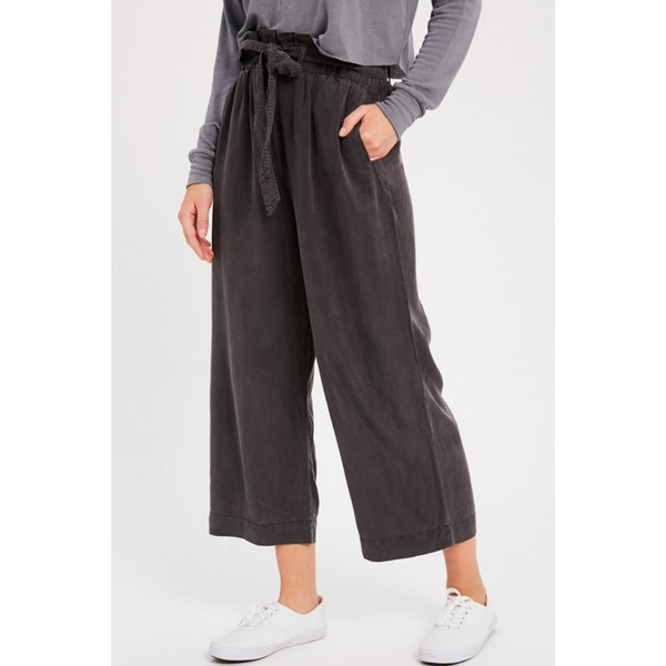 Charcoal Tencel Paper Bag Capris