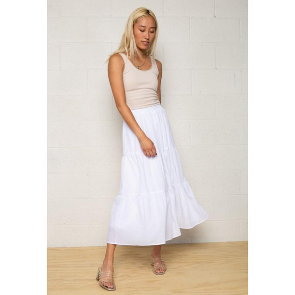 White Tiered Midi Skirt